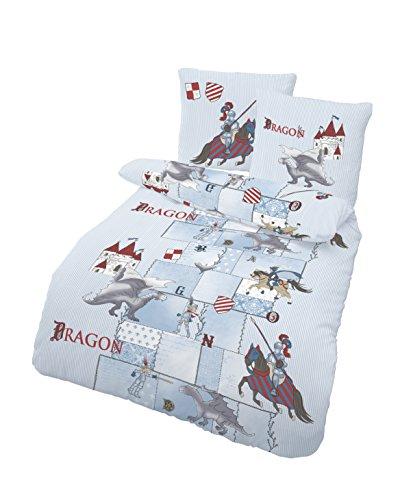Träumschön Dragons Bettwäsche 135x200 Jungen | Ritter Motiv Bettwäsche aus 100% Baumwolle | Biber Bettwäsche 135x200 cm & Kissenbezug 80x80 | 2teilig