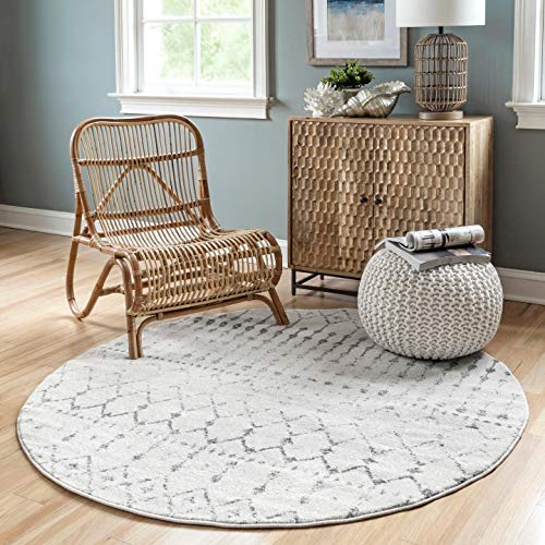 Grey and White Round Nursery Area Rug 5 ft