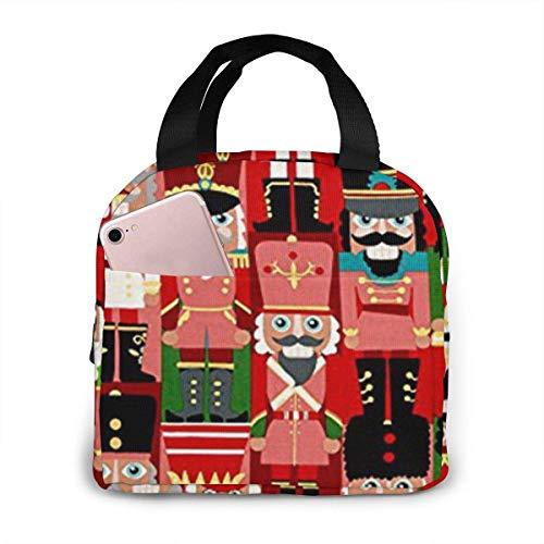 Christmas Time Nutcracker Sweet Reutilizable Bolsa de almuerzo con aislamiento, bolsas más frescas Caja de almuerzo con bolsillo frontal Cierre de cremallera para mujer Hombre Trabajo Picnic o viaje