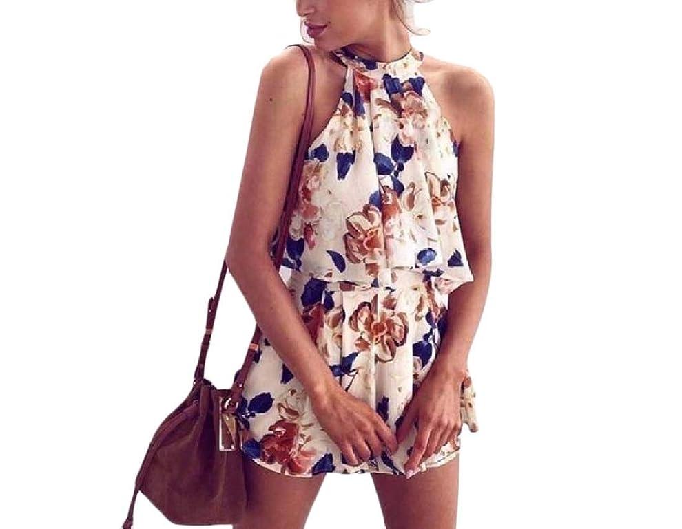 設計省略リフレッシュ女性の包帯ホルター花プリントショルダースリーブトラックスーツジョグセット