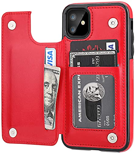 Cubierta Protectora de la Cartera del iPhone 11 con Soporte de la Tarjeta Soporte, PU Cuerpo DE CAPILA DE Tarjeta DE Tarjeta 6.1 Pulgadas (Negro), Red