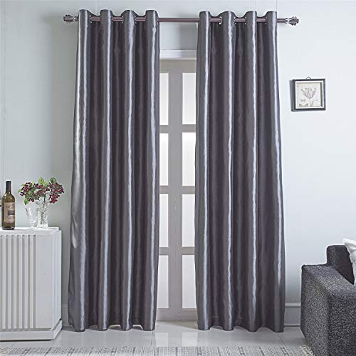 GYROHOME Faux Silk Blackout Curtains, Fully Lined Solid Color Window Treatment Drapes for Bedroom and Living Room Thermal Insulated Grommet Top Room Darkening Drapes, (Gray, 52x96, 2 Panels)