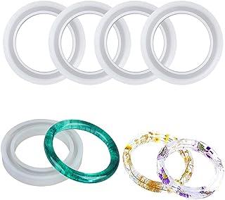 Minelife 4 Pack 72mm Round Resin Bracelet Molds Silicone Bangle Mold, Large Bracelet Resin Casting Molds Silicone Jewelry Mold for Jewelry Making DIY Crafts