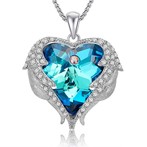 Caperci Angel Wings Blue Heart Swarovski Crystal Pendant Necklace - Valentines Day Jewelry Gift for...