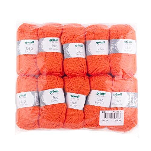 Gründl Lisa Premium Confezione di 10 Gomitoli, Acrylico, Arancione, 34x30x8.5 cm