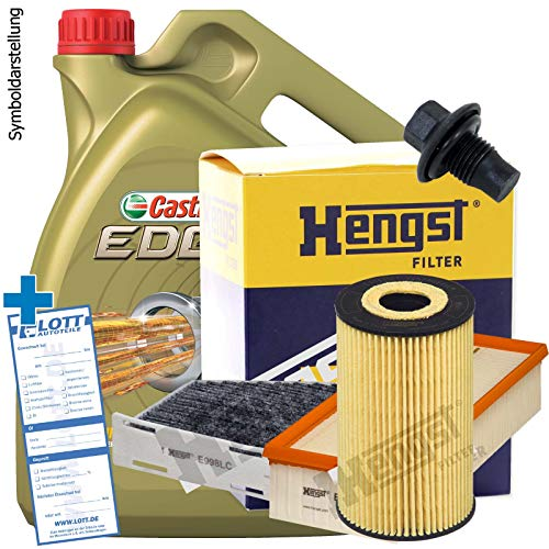 Ölwechsel Set Inspektion Servicekit 5L Castrol Edge Titanium FST LL 5W-30 Motoröl + Hengst Ölfilter + Hengst Luftfilter + Hengst Innenraumfilter + Öl Ablassschraube Verschlussschraube