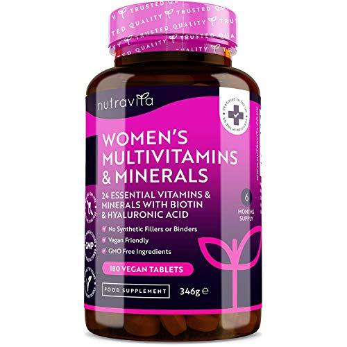 Multivitaminas y minerales para mujer - 24 vitaminas y minerales activos esenciales que incluyen Biotina y Ácido Hialurónico - 180 tabletas veganas - Fabricado por Nutravita