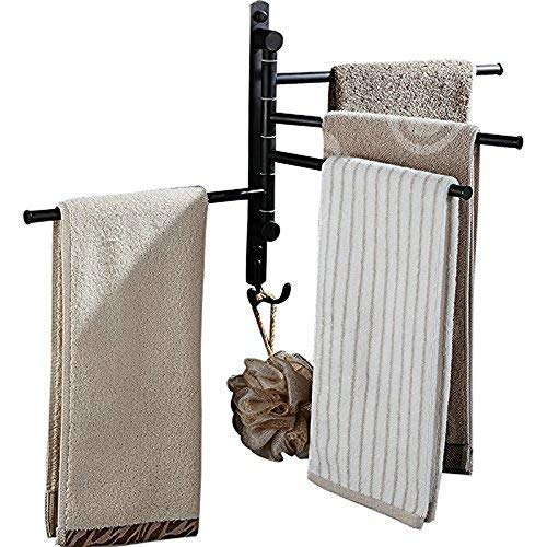 Swivel Towel Rail Stainless Steel Bath Rack Wall Mounted Towel Rack Holder with 4 Swivel Bars, Swing Towel Holder, Black XY98100-4B,Towel Rails