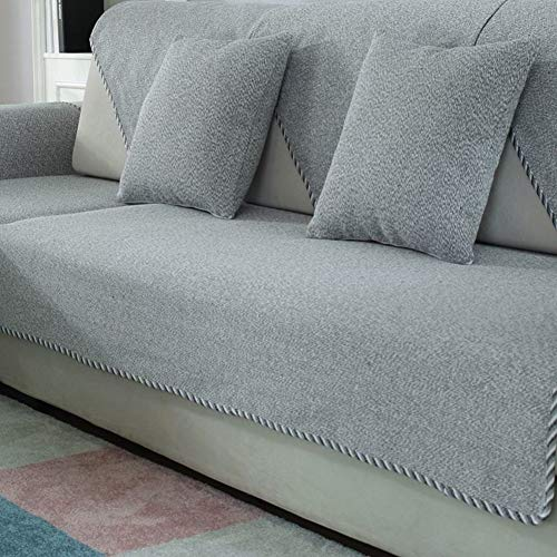 DW&HX 100% Baumwolle Anti-rutsch-Sofa slipcovers, 1-teilige Sofabezug Handtuch Schmutz-Beweis Möbel-Protector für Hund Kinder Sofa slipcover -grau 28x71inch(70x180cm)