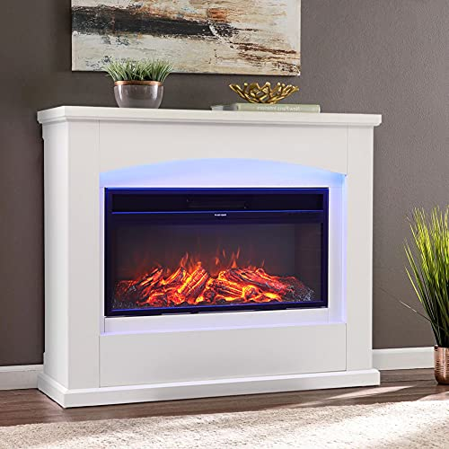 Electric Fire with Surround 50inch White Free Standing Electric Fireplace and Surround Heating Realistic Led Flame Effect 7 Color Setting Large Electric Fire Suite Heater with Remote