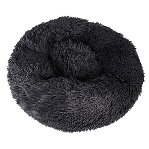 LAIYYI lang pluche huisdier bed, warm nest pluche super zacht huisdier bed kennel hond ronde kat winter warm nest kunstmatige shag geschikt voor kleine honden en katten, L, DARK GRIJS