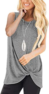 Casual T-Shirt for Womens Cold Shoulder Short Long Sleeve Sleeveless Knot Front Tunic Tops Blouse