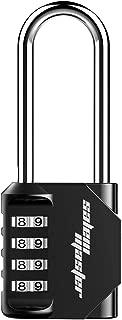 SALEM MASTER 4 Digit Outdoor Combination Locks 2.2 Inch Long Shackle Combination Gate Locks, Padlock for Gym Locker, Hasp Cabinet, Fence, Toolbox (Black)