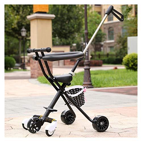 Youpin Carrito de bebé portátil para niños de 2 a 5 años de edad, carrito, patinete, triciclo, mango ajustable para padres (color: negro)