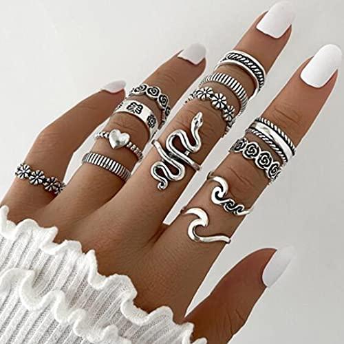 Aukmla Juego de anillos de nudillos vintage de plata apilables anillos de dedo de serpiente tamaño midi conjuntos de anillos para mujeres y niñas 13 piezas