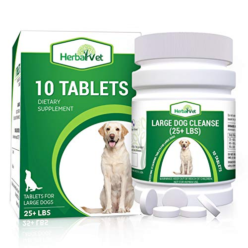 HerbalVet Natural Dog Dewormer Alternative for All Dogs   10 Tablets, Works for Puppies, Intestine Cleanse  Helpful E-Book Included