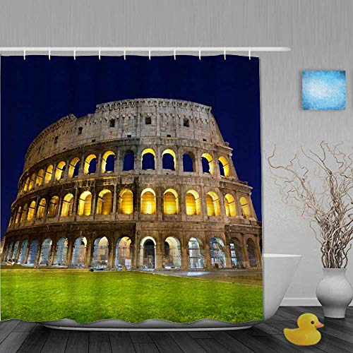 XCJHM The Famous Column Architectural Art of The Colosseum, Italy, The Ancient Roman Empire Logo Pattern, Private Shower Curtain, Waterproof Fabric Shower Curtain 72x72 inches with 12 Plastic Hooks
