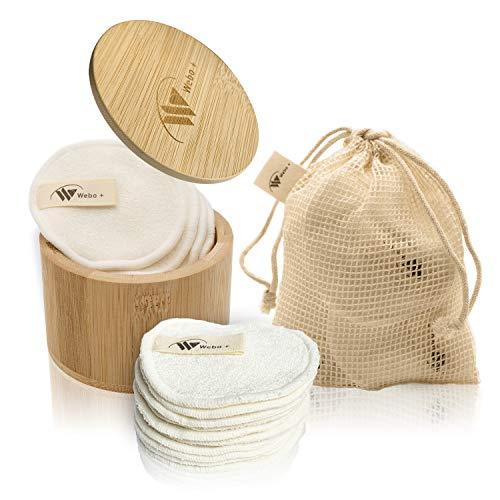Webo+®Abschminkpads waschbar - 10 Wattepads wiederverwendbar für alle Hauttypen - mit eBook und Box zur Aufbewahrung aus Bambus