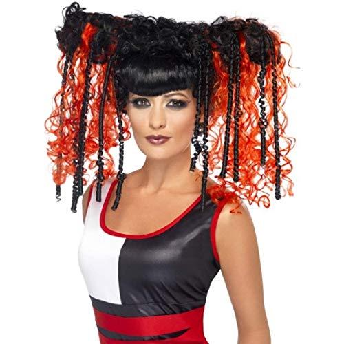 Générique - 351623 - Perruque Manga Rouge Et Noire Femme