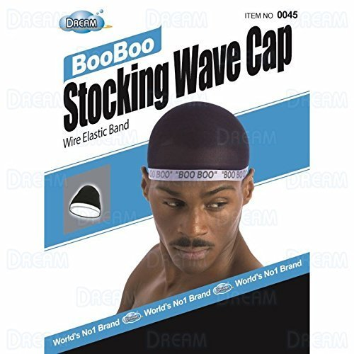 Dream, Boo Boo STOCKING WAVE CAP, Wire Eastic Band (Item #045 Black) 3 pack