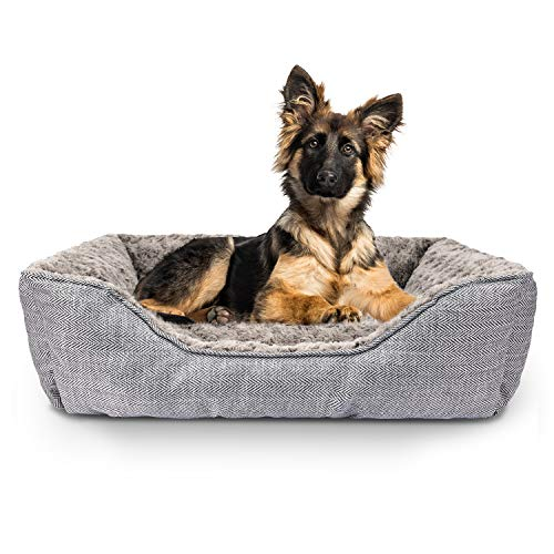 FURTIME Durable Dog Bed for Large Medium Small Dogs Soft Washable Pet Bed Breathable Rectangle Sleeping Bed Anti-Slip Bottom (29' x 23' x 9', Grey)