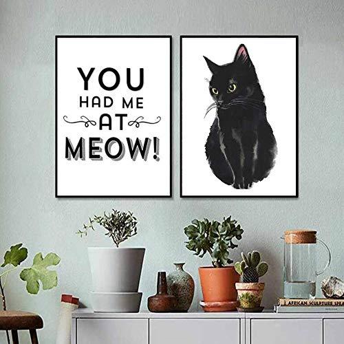 Modulaire prints Nordic stijl zwart Pet Cat Letter afbeeldingen wooncultuur muurkunst schilderij woonkamer simpele stijl canvas poster 40x60cmx2 niet ingelijst