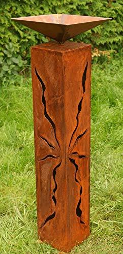 Gartendeko Rostsäulen 80 cm mit Muster zum Beleuchten