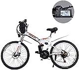 MJY Bicicletas de montaña eléctricas de 24 pulgadas, batería de litio extraíble Bicicleta de montaña eléctrica plegable con bolsa colgante Tres modos de conducción 6-20,12ah / 576Wh