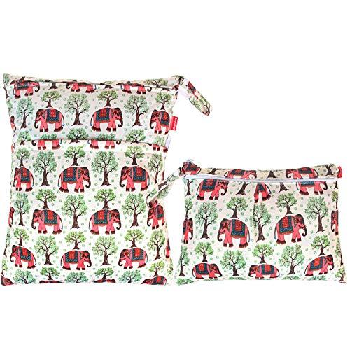 Damero 2 pz borsa da viaggio bagnata e asciutta, organizer riutilizzabile con due tasche con cerniera per pannolino, parti di pompaggio, costume da bagno e palestra, elefanti