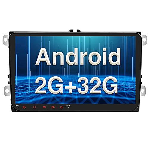 Android Car Radio para VW GPS 2G+32G CAMECHO Pantalla táctil capacitiva de 9 Pulgadas Bluetooth Car Stereo Player WiFi FM Radio Receptor Dual USB para Golf Polo Touran Tiguan Seat Altea
