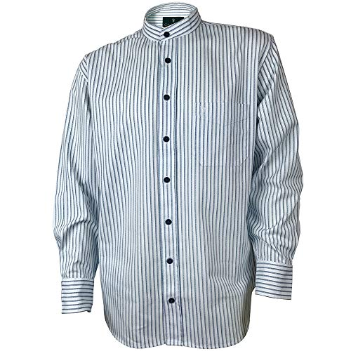 The Celtic Ranch Traditional Collarless Grandfather Shirt, Men's Long Sleeve Dress Shirt (Blue and White Stripe, Large)
