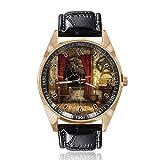 Reloj de Pulsera analógico de Cuarzo con diseño de Cortinas Rojas, Esfera Dorada clásica, Correa de Cuero para Mujer y Hombre