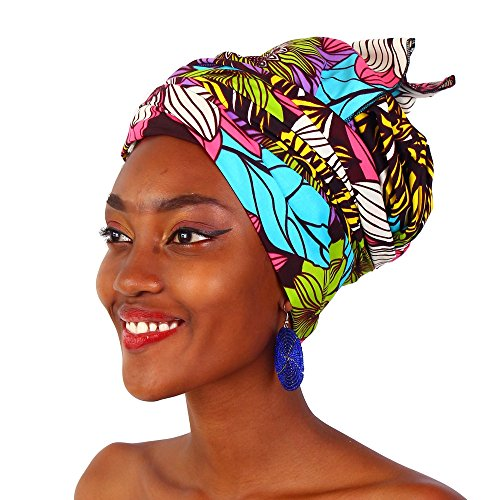 MCYSKK African Bazin Riche Head Wrap Headtie Headwear Nigerian Scarf Gele for Women