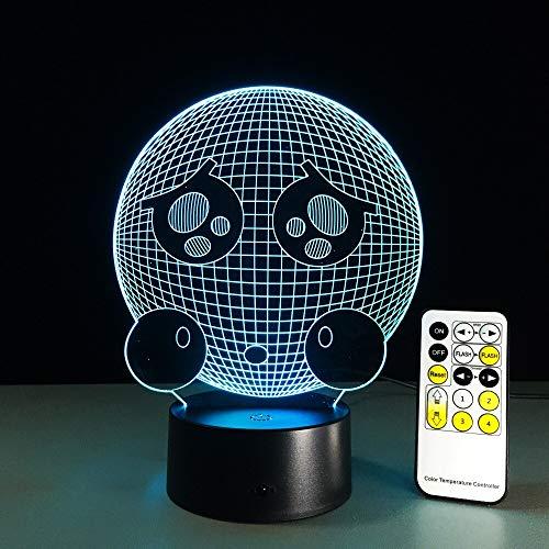 HNXDP Remote Crying Face Nette Form 3D Nachtlicht LED Vision Stereo Acryl Panel Tischdekoration 7 Farben Ändern Schlafzimmer Lampe