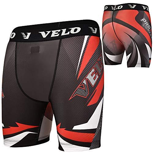 VELO Compression Shorts MMA Tudo Rash Guard Gym Boxing Training Cycling Red (Black Red, S)