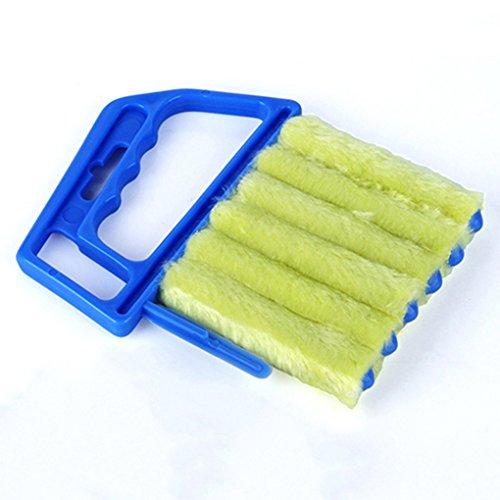 Gemini_mall Nettoyeur de store vénitien, tissu dépoussiéreur en microfibre détachable, lavable à la main, pour nettoyage humide ou à sec des lattes., bleu, Taille unique