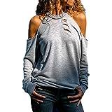 iHENGH Damen Top Bluse Lässig Mode T-Shirt Frühling Sommer Frauen Bequem Blusen Lange Hülse Weg vom Schulter Normallack beiläufiges Hemd Einfache Oberteile(Grau, L)
