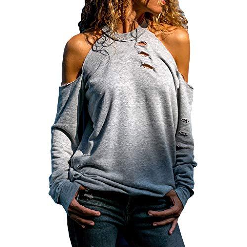 iHENGH Damen Top Bluse Lässig Mode T-Shirt Frühling Sommer Frauen Bequem Blusen Lange Hülse Weg vom Schulter Normallack beiläufiges Hemd Einfache Oberteile(Grau, XL)