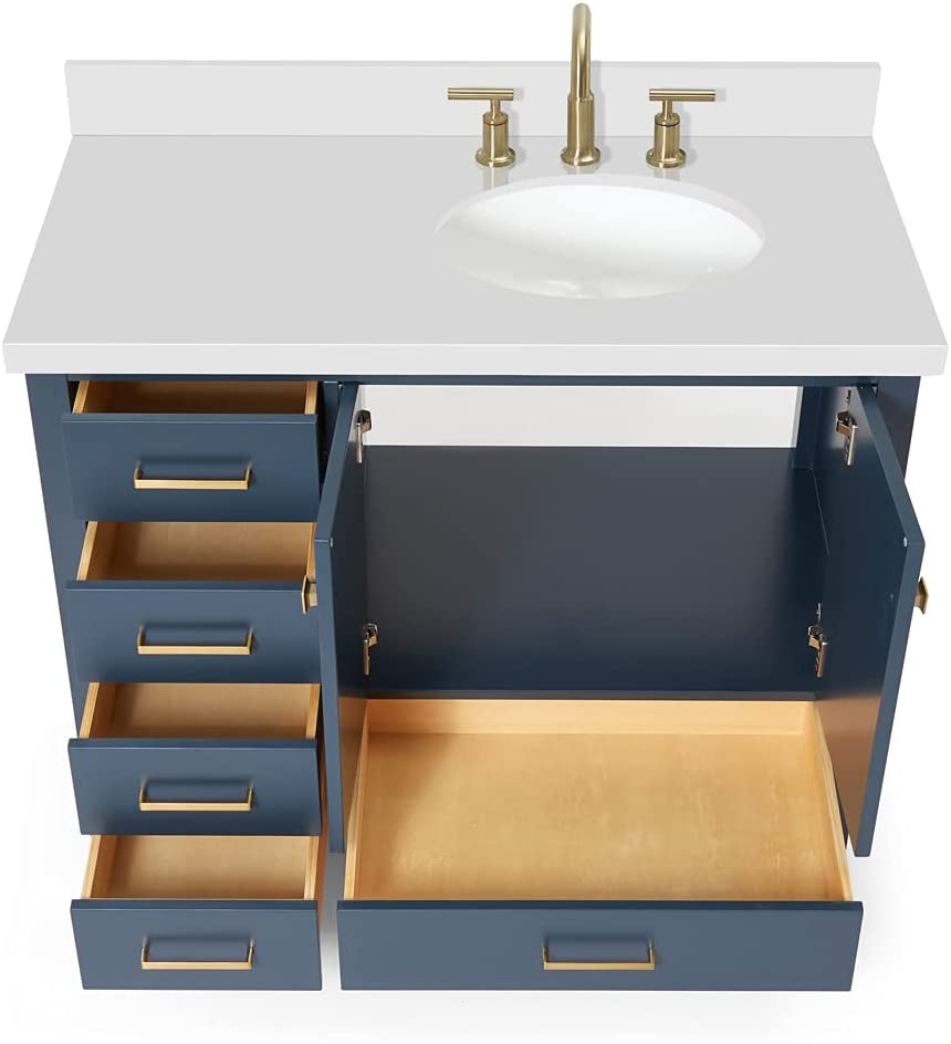 Buy Ariel 43 Inch Midnight Blue Bathroom Vanity With Pure White Quartz Countertop Right Offset Oval Sink 2 Soft Closing Doors And 5 Full Extension Dovetail Drawers No Mirror Online In Germany B086y8nwqq