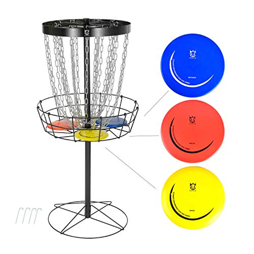 CROWN ME Disc Golf Basket Target Include 3 Discs, 24-Chain Portable Metal Golf Goals Baskets