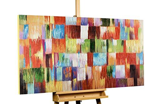 Kunstloft® Cuadro en acrílico 'Un Homenaje a la Vida' 140x70cm | Original Pintura XXL Pintado a Mano sobre Lienzo | Abstracto Multicolor | Cuadro acrílico de Arte Moderno con Marco