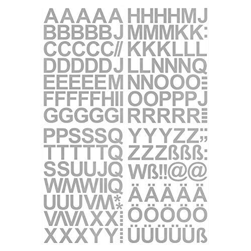 Leicht anzubringende Buchstaben Aufkleber 4cm in silber glänzend - 150 HOCHWERTIGE KLEBEBUCHSTABEN - Buchstaben zum aufkleben abc Alphabet - Wasser und wetterfest ideal für den Außenbereich