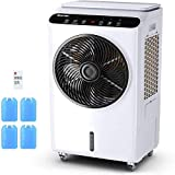COSTWAY Evaporative Cooler, Industrial Air Cooler, 3 Speeds & Modes, Quiet Electric Fan & Humidifier, 7-Gallon Water...