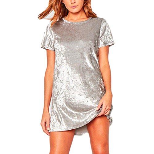 Bawar Damen Samtkleider Mini Cocktailkleid Kurzarm Abendkleid A-Linie T-Shirt Partykleid (L, Silber)