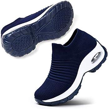 STQ Women s Tennis Walking Shoes Comfortable Athletic Mesh Slip on Sneakers Navy 8