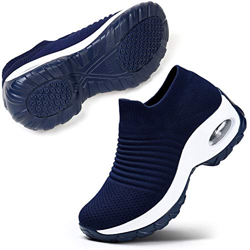 STQ Women Running Shoes Casual Sports Non Slip Walking Sneakers. Navy 5.5