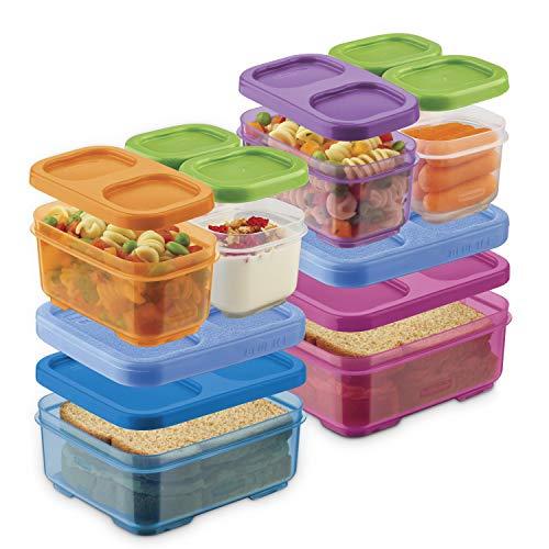 Rubbermaid LanchBlox Kids Box e preparação de refeições, pacote com 2 | recipientes empilháveis e seguros para micro-ondas | cores sortidas, roxo/rosa/verde