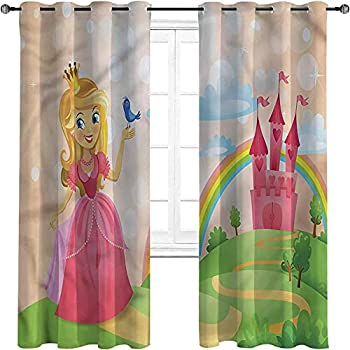 Princess Blackout Curtains - Gasket Insulation Girl Fantasy Castle Bird Three-Layer Braided Noise Reduction Ring top Shade Curtain W72 x L63 Inch