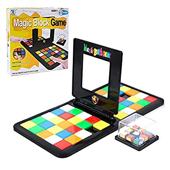 ChenLee Magic Block Game Parent-Child Activity Double Speed Game Kids Educational Toys 3D Cube Puzzle Blocks Interactive Race Board Game Gift Family for Kids Adults