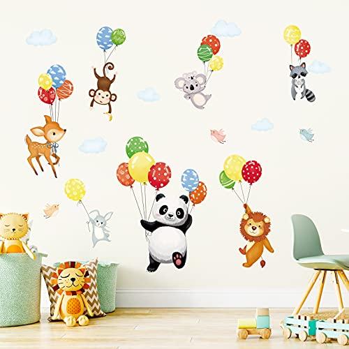 decalmile Pegatinas de Pared Globos Animales Vinilos Decorativos Panda Ciervo Mono Adhesivos Pared Habitación Infantiles Guardería Dormitorio